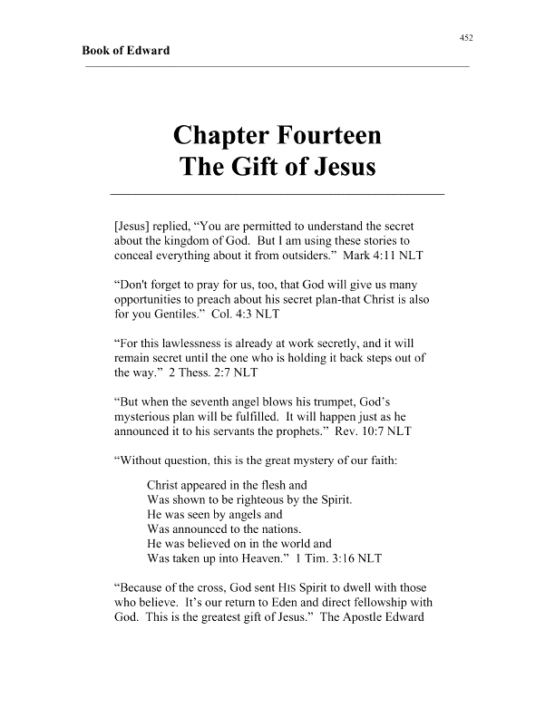 apostle edward's book of edward chapter 14 cover page